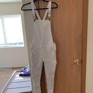 White skinny overalls